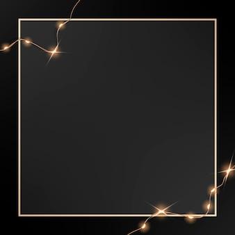 Elegante cornice dorata vettoriale con luci cablate incandescenti su grafica nera