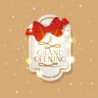 Elegant golden frame with ribbon and grand opening message