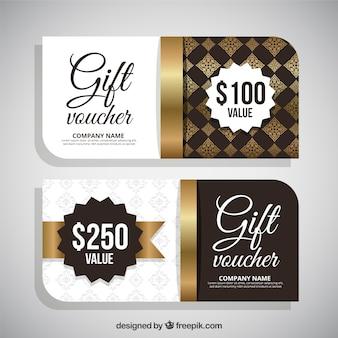 Elegant golden gift coupons