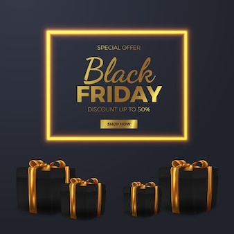 Elegant golden glow lamp black friday sale offer banner template with luxury royal style