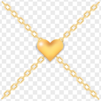Elegant golden heart on crossed gold chains.