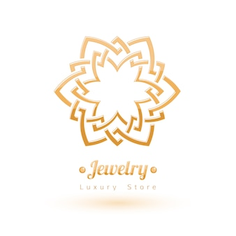 Elegant golden  jewelry decoration. ethnic floral vignettes. good for fashion jewelry store  logo.