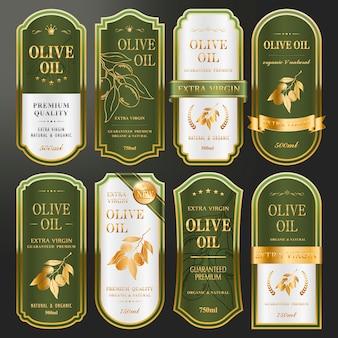 プレミアムオリーブオイル用のエレガントなゴールデンラベルコレクションセット