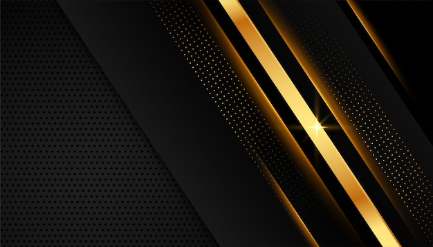 Elegant golden lines on dark black background