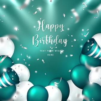 Elegant golden malachite green silver white ballon and party popper ribbon happy birthday celebration card banner template