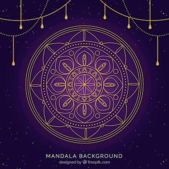 エレガントな黄金の曼荼羅紫の背景