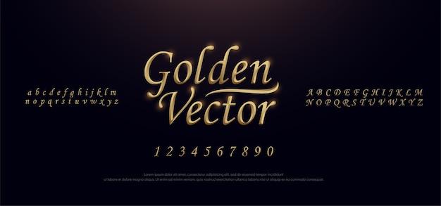 Elegant golden metal chrome alphabet font