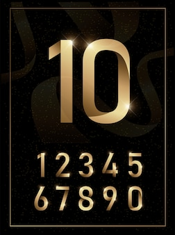 Elegant golden metal numbers.