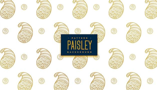 Элегантный золотой узор пейсли фон