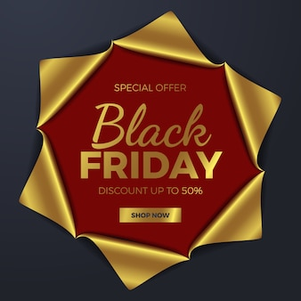 Элегантная золотая бумажная основа, порванная в центре для шаблона рекламного баннера для шоковой распродажи в черную пятницу