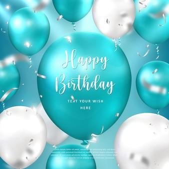 Elegant golden peacock blue silver white ballon and party popper ribbon happy birthday celebration card banner template