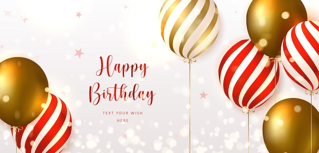 Elegant golden red striped ballon happy birthday celebration card banner template background