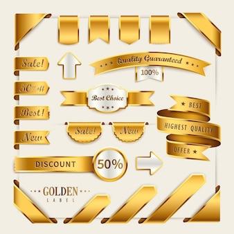 소매 사용을위한 우아한 황금 리본 라벨 컬렉션 세트