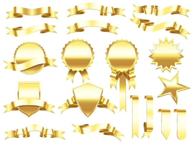 Elegant golden ribbons labels and products banners.