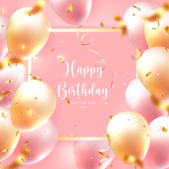 Elegant golden rose pink ballon square frame and party popper ribbon happy birthday celebration card banner template