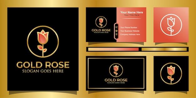 ラインアートスタイルのロゴ、名刺でフェミニンな美しさの装飾的なデザインとエレガントな黄金のバラ