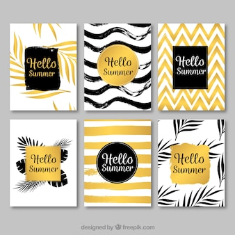 Elegant golden summer card set