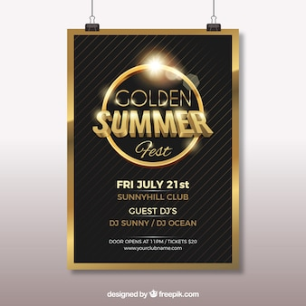Elegant golden summer party poster