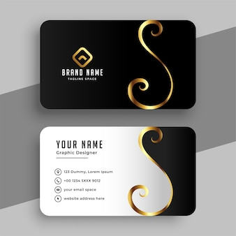 Elegant golden swirl business card  template