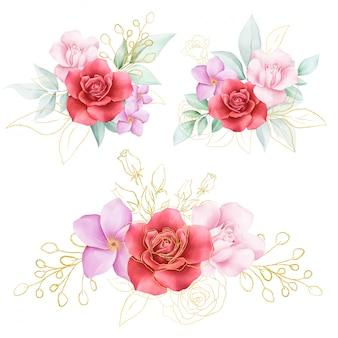 Elegant golden watercolor flowers arrangements for card composition