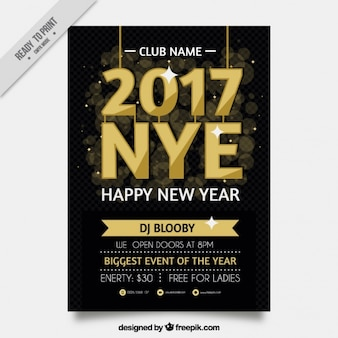 Elegant golden year's eve party poster