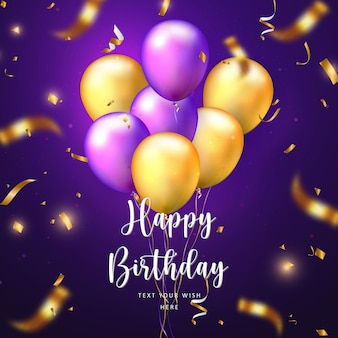 Elegant golden yellow purple ballon and party popper ribbon happy birthday celebration card banner template