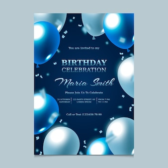 Elegant gradient birthday invitation