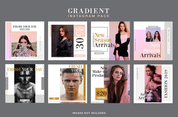 Elegant gradient instagram banner template set