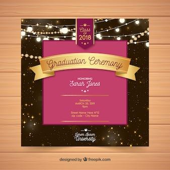 Elegant graduation invitation template flat design