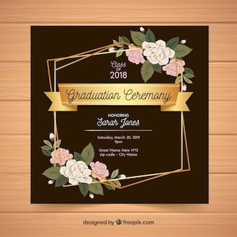 Elegant graduation invitation template flat design