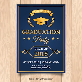 Elegant graduation invitation template with golden style