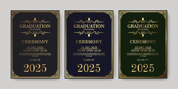 Elegant graduation invitation template with ornament