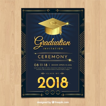 Elegant graduation invitation template with realistic design