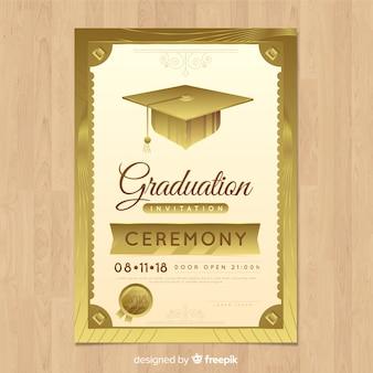 Elegant graduation invitation with golden style