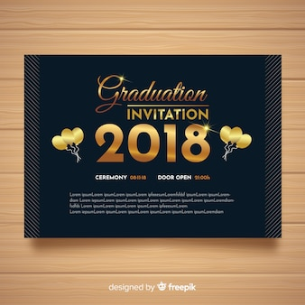 Elegant graduation invitation with golden style