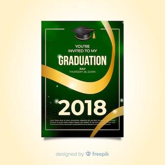 Elegant graduation invitation with realistic design