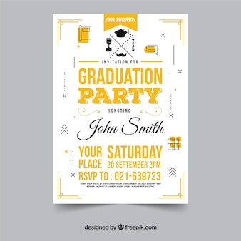 Elegant graduation party invitation with flat design