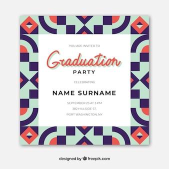 Элегантное выпускное приглашение с плоским дизайном