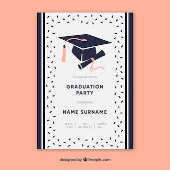 Elegant graduation party invitation with flat design