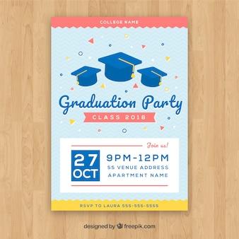 フラットデザインのエレガントな卒業パーティー招待状