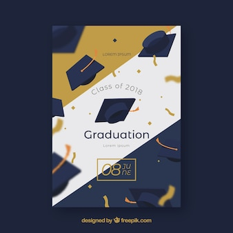Elegant graduation party invitation with golden style
