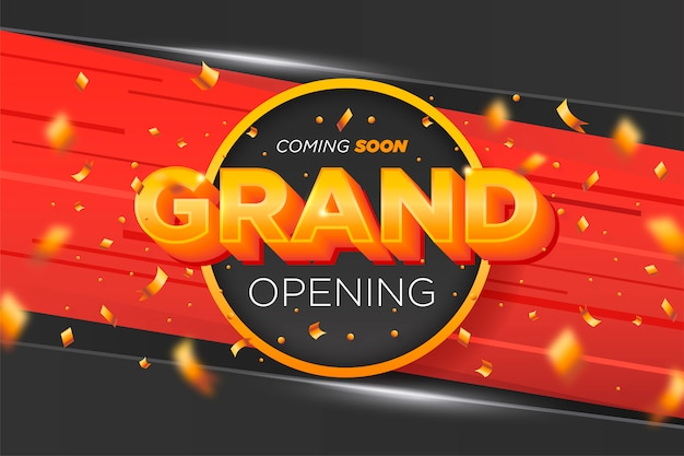 Elegant grand opening banner with golden confetti