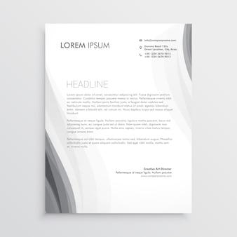 Elegant gray wave letterhead