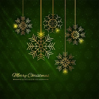 Elegant green background with golden snowflakes
