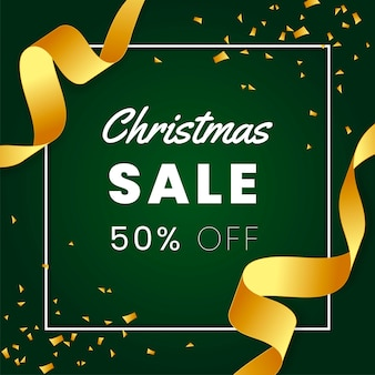 Elegant green christmas sales banner with gold ribbon