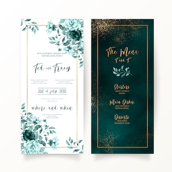 Elegant green floral and watercolor wedding stationery
