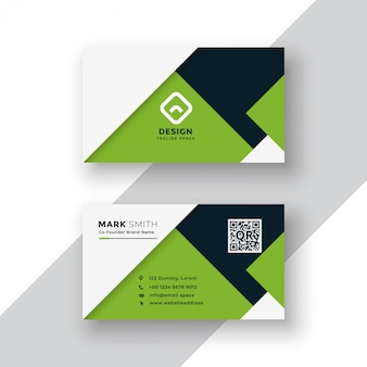 Elegant green geometric business card design