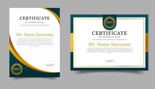 Elegant green and gold diploma certificate template