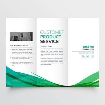 Elegant green wavy tri fold brochure for your business