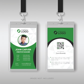 Elegant green and white id card template